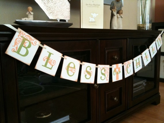 BLESS our CHILD Garland Banner/  Baby Shower / Baptism / Christening / First Communion / Custom Colors Welcome