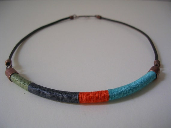 The embroiderer's necklace: colorblock necklace in fern green, pewter gray, orange spice and light turquoise