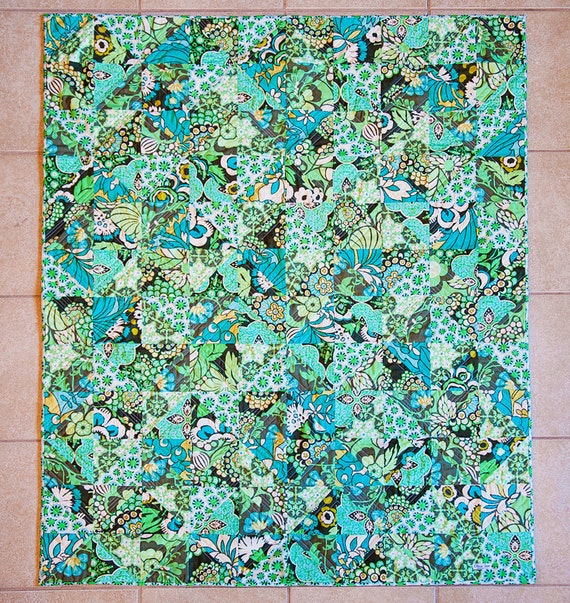 SALE Geometric Charming Quilt in Blue, Green, and White free shipping