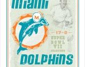 Miami Dolphins Perfect Season - 8x10, 11x14 or 16x20 print - Miami Dolphins Super Bowl champs Football poster - Sports bar Man Cave decor