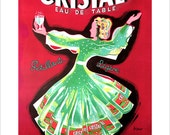Vintage French Poster Print - 8x10, 11x14 or 16x20 - Cristal Eau de Table - French advertising art