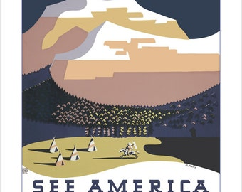 Montana Art print - See America - WPA Poster Print - 11x14 or 16x20