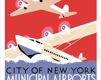 New York City Municipal Airports Print - WPA Poster Print - 11x14 or 16x20 print