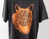 Black and Orange Mutant Cat T Shirt. MEDIUM