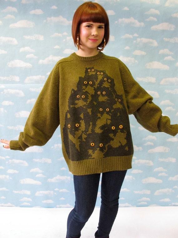 Olive Green Shetland Wool Kitty Jumper