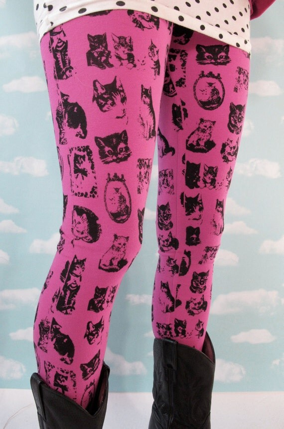 Pink Kitty Leggings. Small
