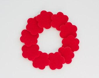 Adhesive Felt Flower backings for Baby Headbands - Pack of 10 Red Felt Flowers