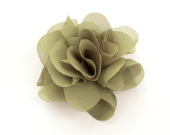 Olive Chiffon Flower Embellishment for Baby Headband - Anna Collection