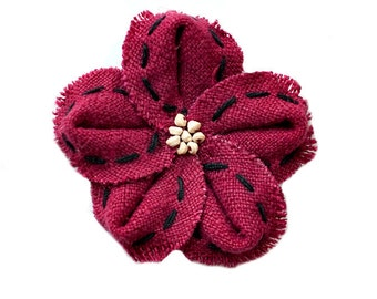 Burgundy Linen Flower Embellishment with wood bead center for Baby Headbands - Maggie Collection