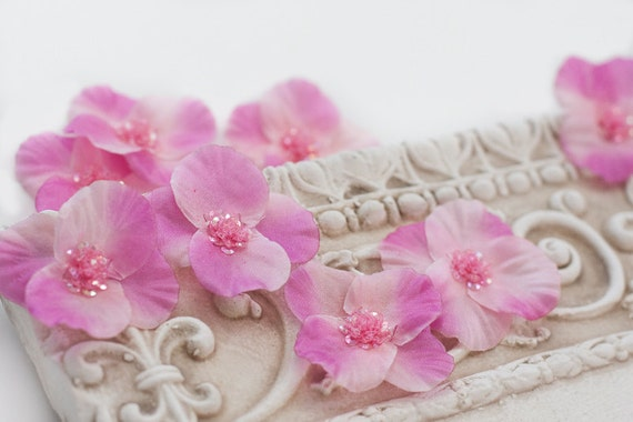 Pink Silk Flower Appliques Set of Three - Hailey Collection