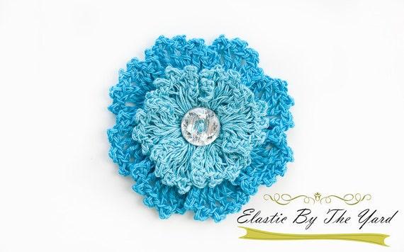 Crochet Flower Applique - Teal/Aqua Crochet Flower for Baby Headbands and Clips (Melissa)