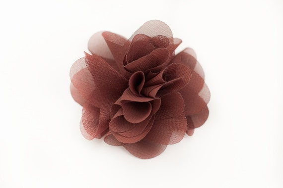 Brown Chiffon Flower Embellishment for Baby Headband - Anna Collection