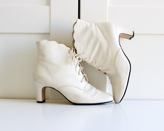 Vintage Winter White Granny Boots Ankle Booties By