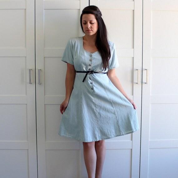 Vintage Denim Dress, Short Sleeve Button Front Blue Cotton Dress, Light Blue Stone Wash 80s Denim, size Large XL