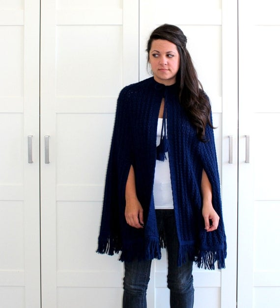 Vintage Cape, Navy Blue Knitted Cape Poncho, Long Cape Fringe Sweater, One Size Fits Most