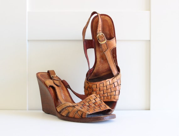 Vintage 70s Wedge Heel Shoes, Brown Woven Leather Stacked Heel Boho Wedges Sandal, size 9
