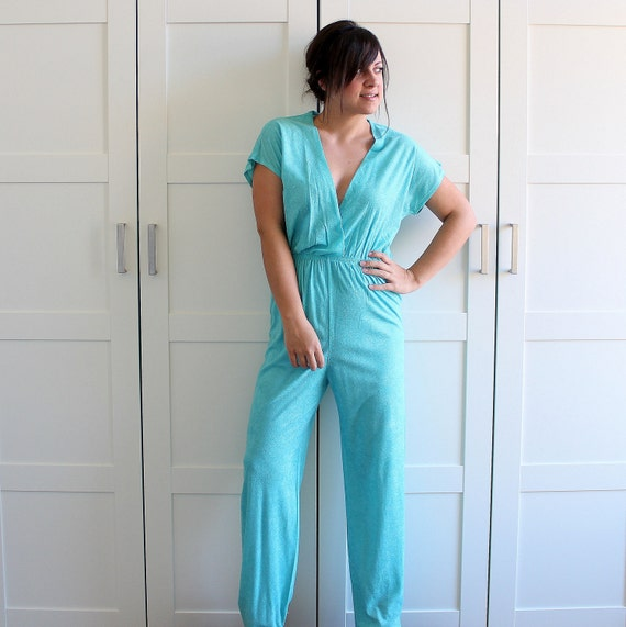 Vintage Jumpsuit, Aqua Spring Fashion Terry Cloth  Jump Suit Romper Onesie, 70s 80s Casual Lounge Wear, size Large