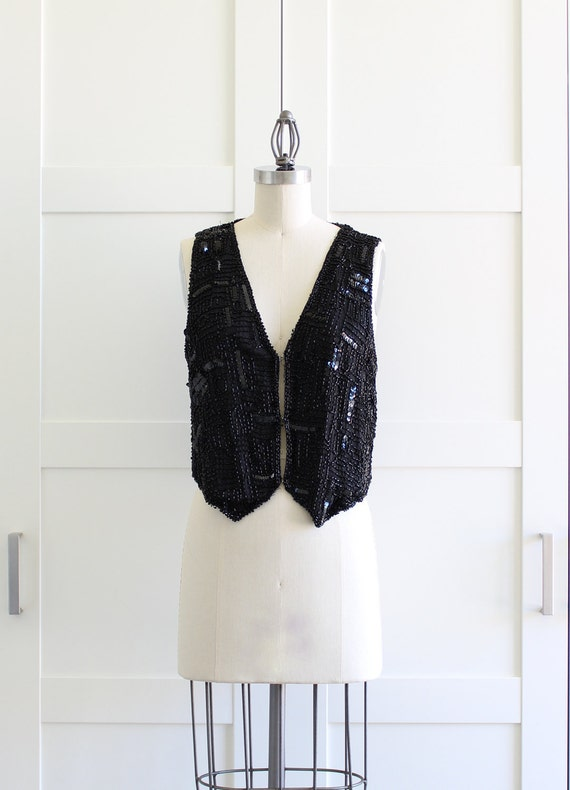 SALE - Vintage Black Sequin Vest / Beaded Black Tuxedo Vest / Sequin Fashion Jacket / Medium