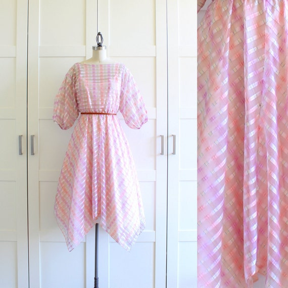 SALE - Pink Party Dress / 50s 60s Dress / Spring Fashion Day Dress / Medium