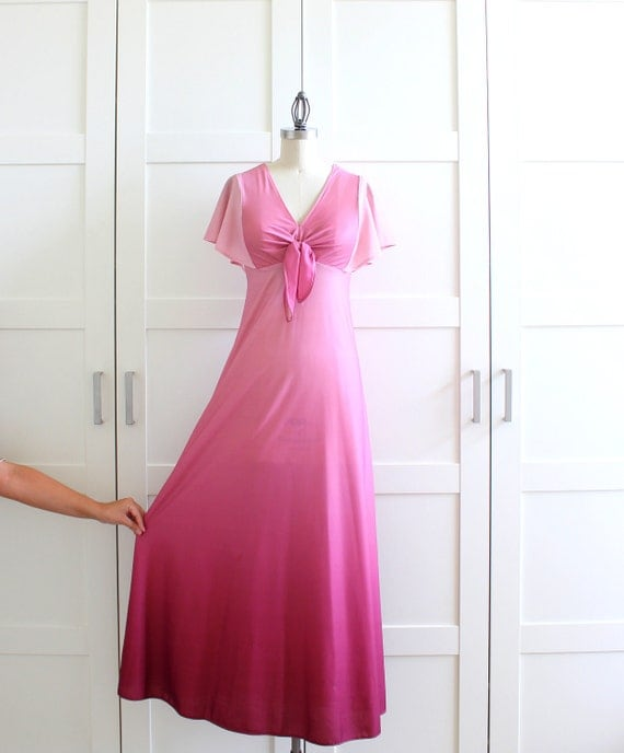 1970s Maxi Dress, Pink Ombre Dress, 70s Aline A Line Bridesmaid Dress, size Medium Large