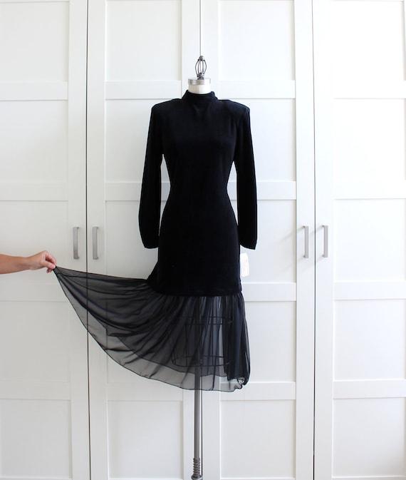 SALE - Vintage Party Dress / Deadstock Cocktail Dress LBD / Black Sheer Long Sleeve Dress / Little Black Backless Dress / size Large XL