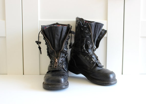 Vintage Black Combat Boots, Lace Up Zipper Boots, Flat Black Military Boot, size 7 RESERVED