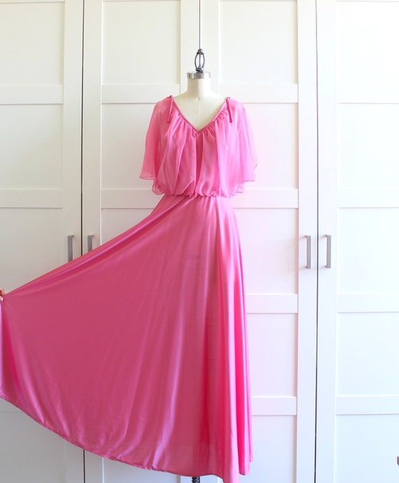 Pink Sheer Bridesmaid Dress, Long Formal Maxi The 70s Dress Prom Dress, size Medium