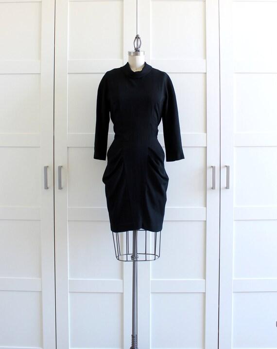 Black Turtleneck Long Sleeve Dress, Parisian Beatnik Sash Dress, Bodycon Body Con Dress, size Small