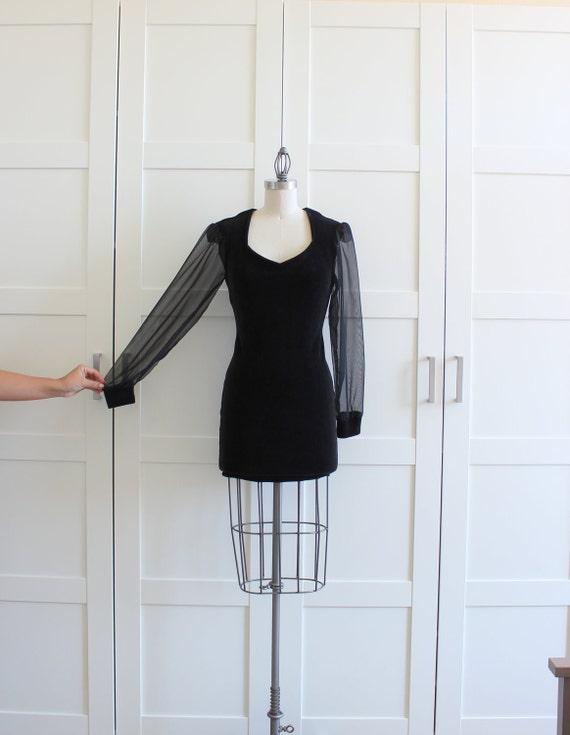 Vintage Little Black Dress, Sheer Sleeve 80s BodyCon LBD Cocktail Dress, Black Velvet Sweetheart Neckline, size Small