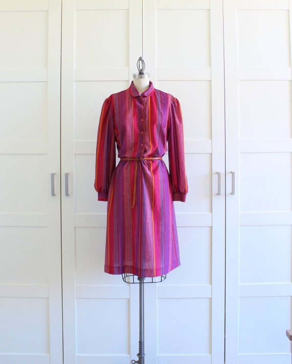 Vintage Plus Size Dress, Maroon Candy Stripe Striped Dress, Shirtwaist Shirt Dress, size XL Plus