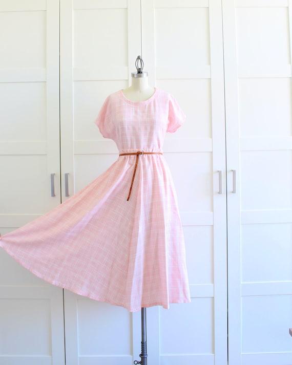 Vintage 1950s Dress Set, Pink Plaid Retro Full Circle Skirt with Cap Sleeve Shirt, size Large XL