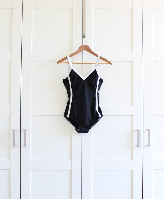 Vintage Bathing Suit, Black and White 60s Swimwear One Piece Swim Suit 60s Swimsuit, size Medium Large
