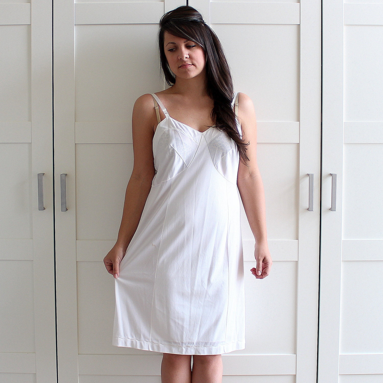 Vintage 1960s Lingerie White Slip Half Slip Dress Bridal