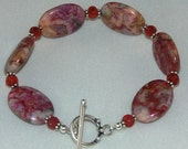 Pink/Red Crazy Lace Agate Bracelet