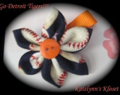 Detroit Tigers Baseball Fabric Flower Clippie