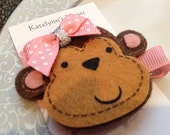 Toddler Monkey Hair Clip - Baby Hair Clip - Sassy Felt Pink Monkey Clippie with tiny Pink Bow