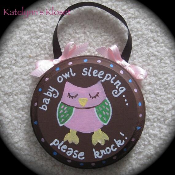 Baby Owl Baby Sleeping Sign