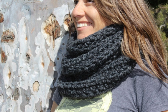 Charcoal Grey-Thick and Chunky Oversized-Neck Warmer