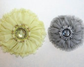 Chiffon Fabric Flowers Set of 2 Lime Green and Gray multicolor beads and pearl bead accents - Perfect for Headbands or Scrapbooking