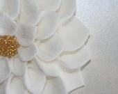"White Felt Flower Dehlia Customized Center 4.75"" HANDMADE Custom Orders Welcome - Perfect for Purse Clips Accessories Headbands"
