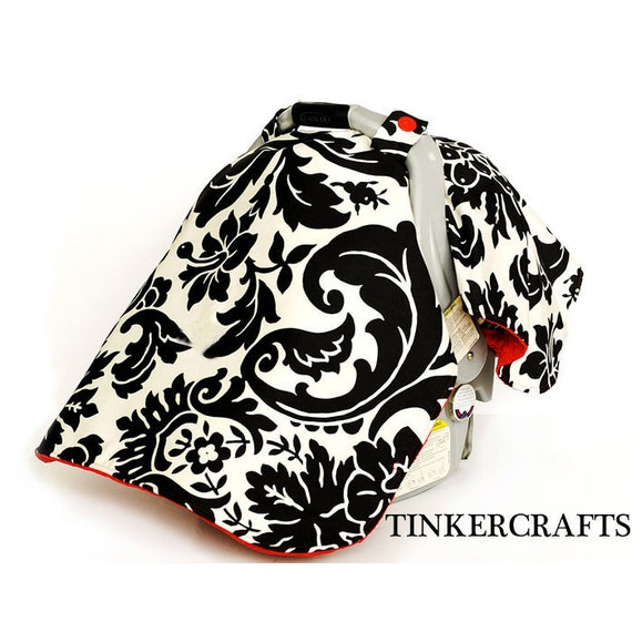 Car Seat Cover Set Black And White Damask With RED LAST ONE