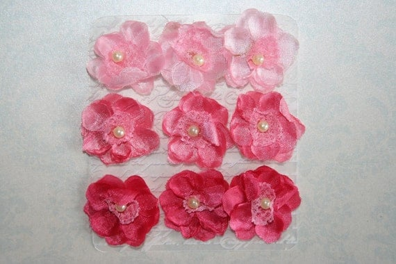 Set of 9 Pink Chiffon and Lace FABRIC FLOWERS  3 Shades Great for Headbands Brooch Shoe Clip Hair Clip Photography prop