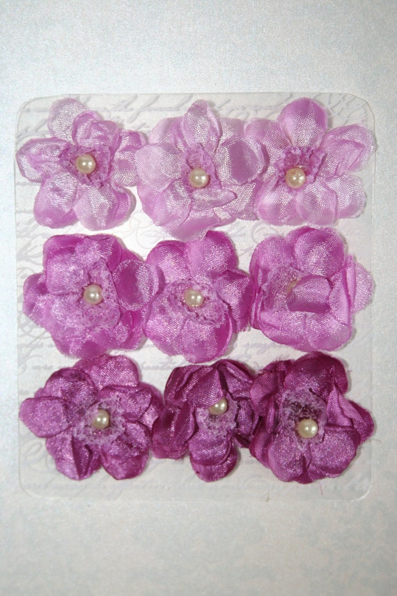 Set of 9 Purple Chiffon and Lace FABRIC FLOWERS  3 Shades Headbands Brooch Shoe Clip Hair Clip Flower Pin