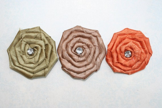 Rosette Fabric Flowers Set of 3 Fall Autumn Fabric Flowers with Rhinestone Bead Orange Brown Green Perfect for a Headband Shoe Clip Hair Pin