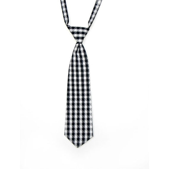 Boys NeckTie Houndstooth 4T 5T 6T 7T 8T  - Adustable Black and White Houndstooth Perfect for Christmas Church Weddings or Photo Sessions