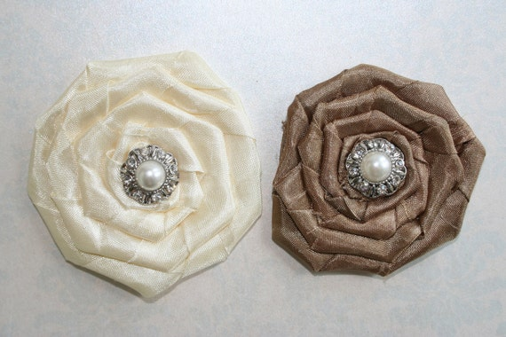 Set of 2 Large Rosette Fabric Flowers with Rhinestone Button Ivory and Mocha Perfect for a Headband Shoe Clip