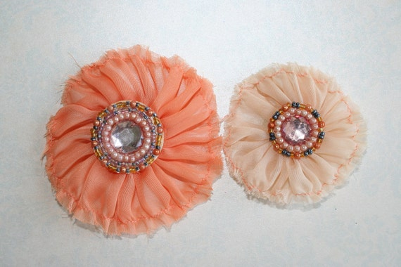 Chiffon Fabric Flowers Set of 2 Orange Coral and Peach multicolor beads and pearl bead accents - Perfect for Headbands or Scrapbooking