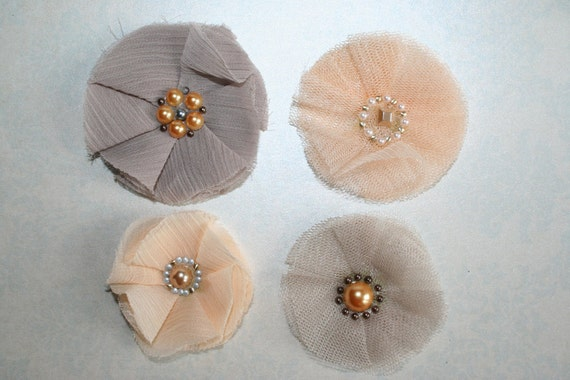 Chiffon Fabric Flowers Chiffon and Tulle Set of 4 Neutral Shades Peach and Beige Headband Flowers Shabby Chic Flowers