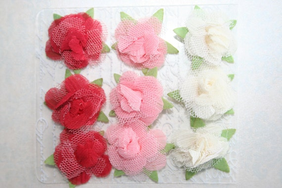 ROSES FABRIC FLOWERS Set of 9 White Pink and Red Chiffon and Tulle Headbands Brooch Shoe Clip Hair Clip Flower Pin Valentine