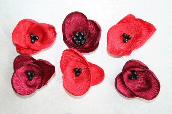 Bright Red and Cherry Red POPPY Satin Fabric Flowers  Wholesale Fabric Flower Supplies